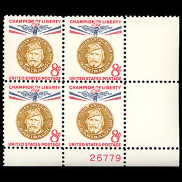 1960 8c Giuseppe Garibaldi Plate Block