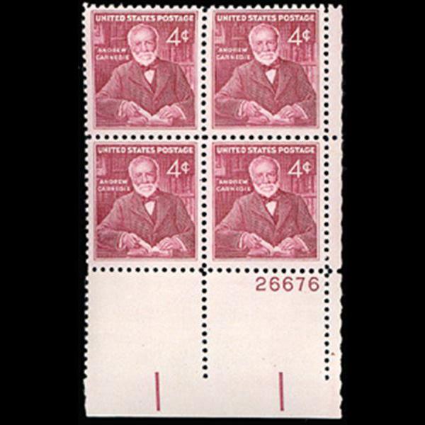 1960 4c Andrew Carnegie Plate Block