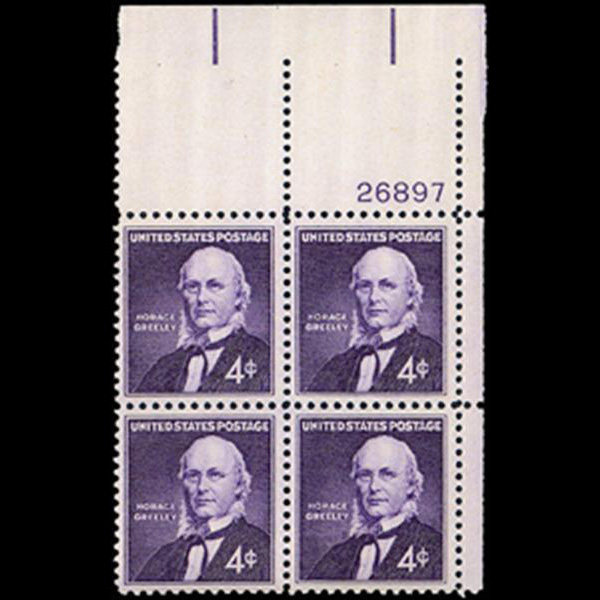 1961 4c Horace Greeley Plate Block