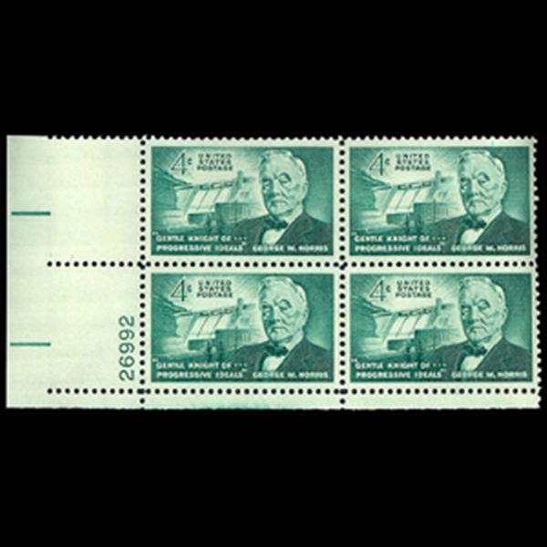 1961 4c George W. Norris Plate Block