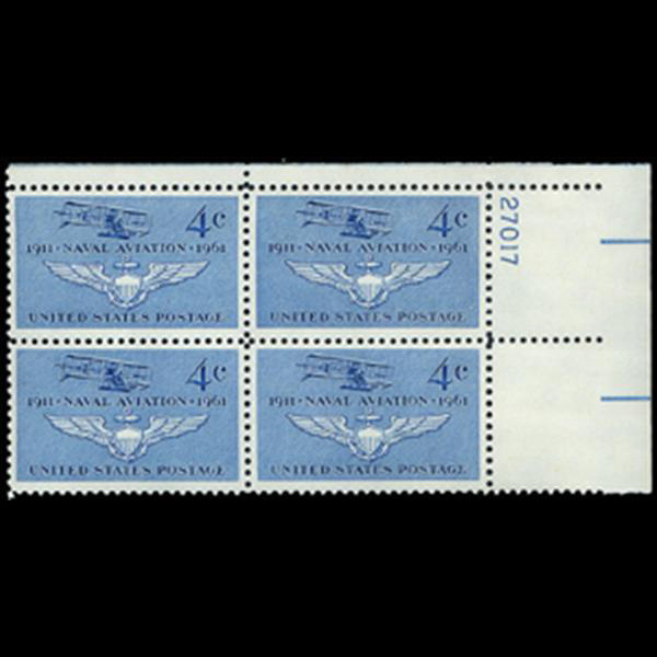 1961 4c Naval Aviation Plate Block