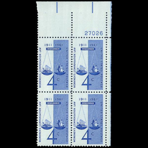 1961 4c Workmen's Compensation Plate Block