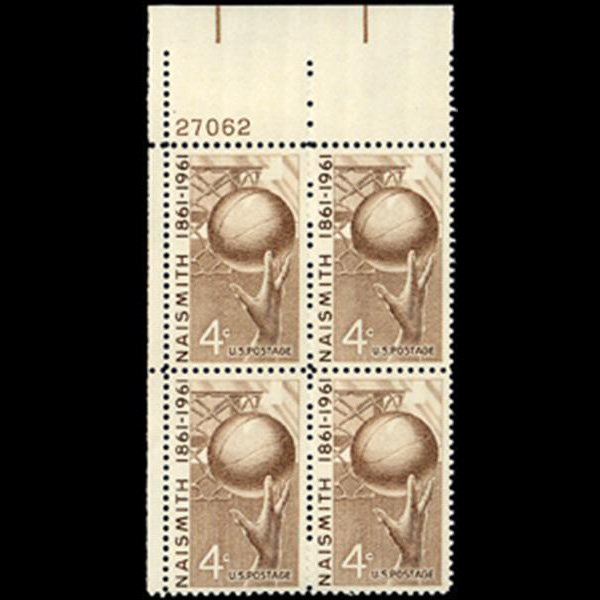 1961 4c Basketball Plate Block