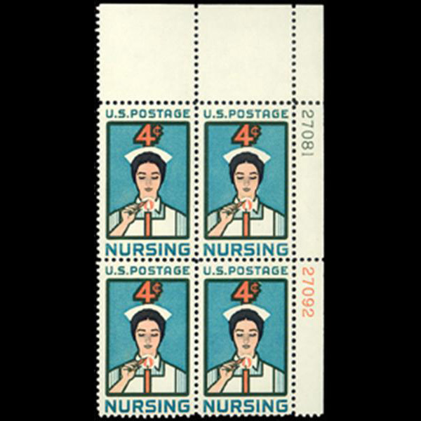 1961 4c Nursing Plate Block