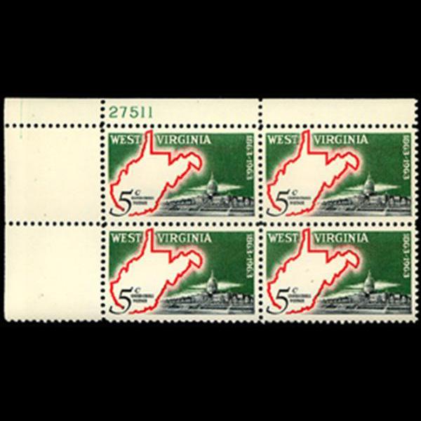 1963 5c West Virginia Statehood Plate Block