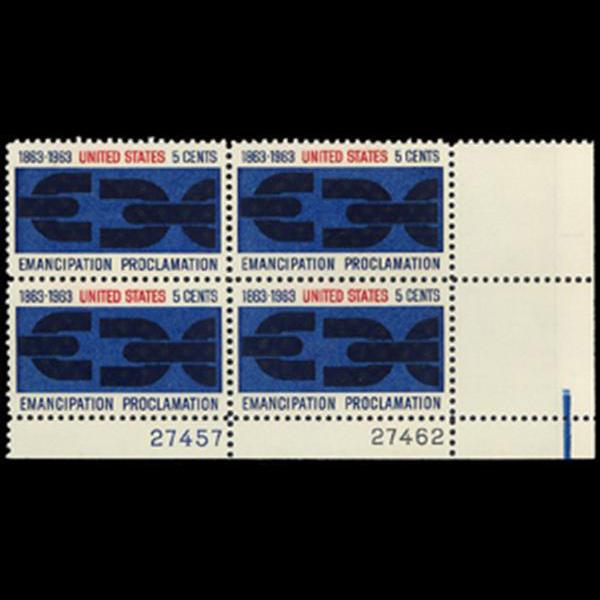 1963 5c Emancipation Proclamation Plate Block
