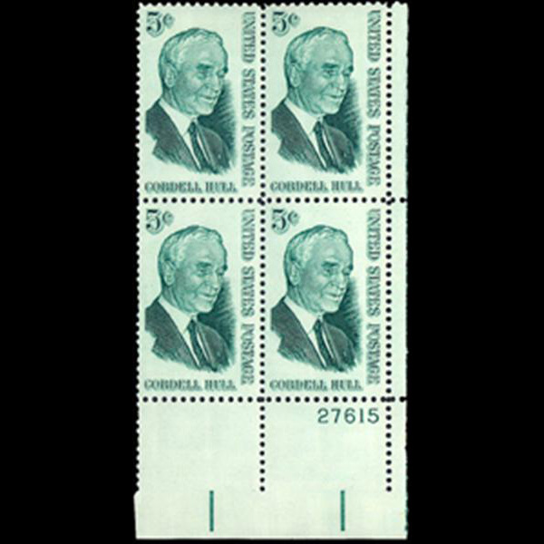 1963 5c Cordell Hull Plate Block