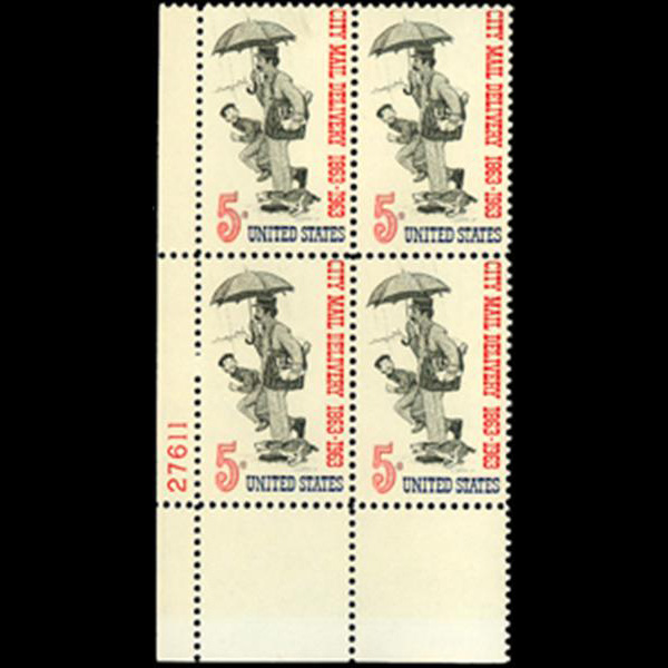 1963 5c City Mail Delivery Plate Block