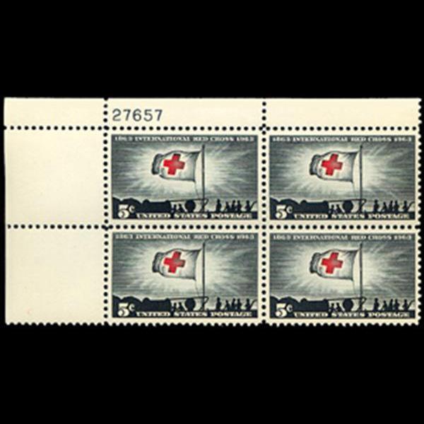 1963 5c International Red Cross Plate Block