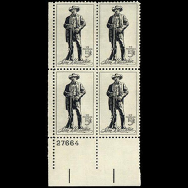 1964 5c Sam Houston Plate Block