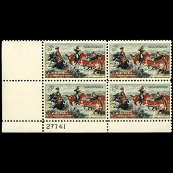 1964 5c Charles M. Russell Plate Block