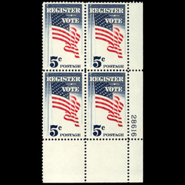 1964 5c Register and Vote Plate Block