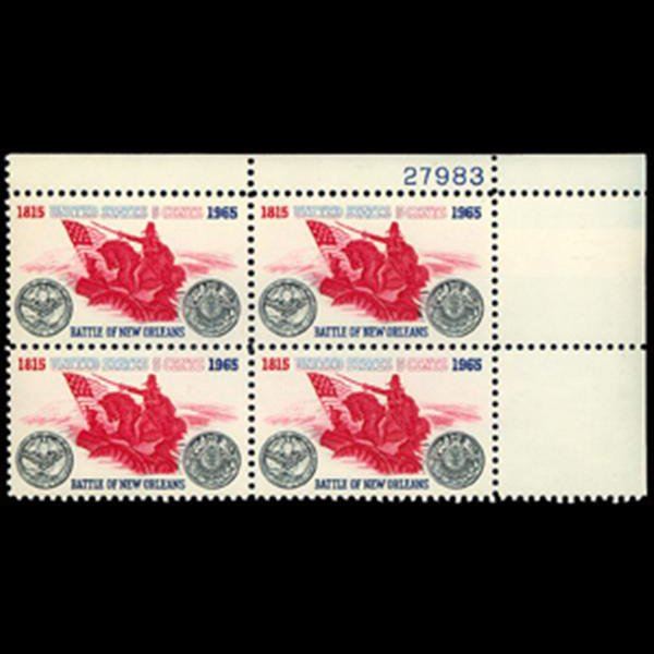 1965 5c Battle of New Orleans Plate Block