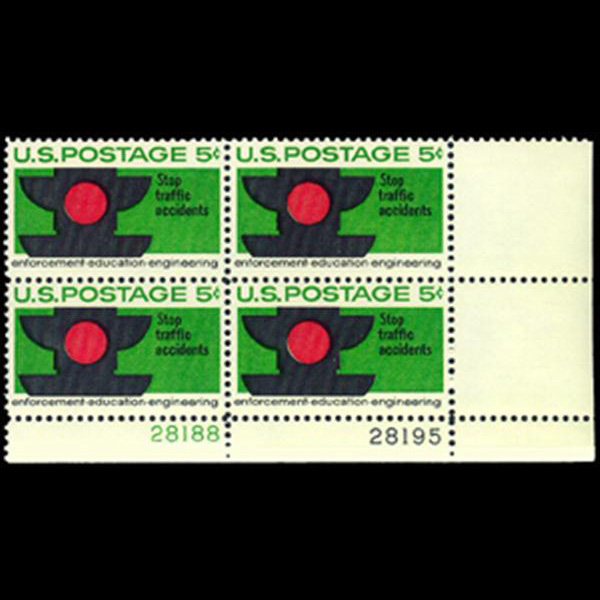 1965 5c Traffic Safety Plate Block