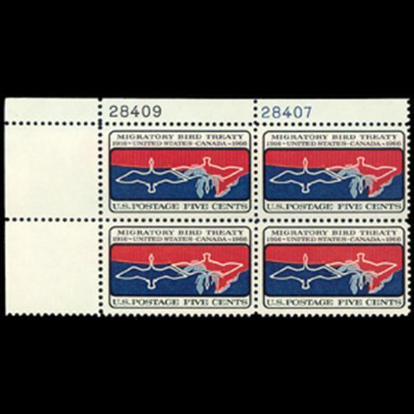 1966 5c Migratory Bird Treaty Plate Block
