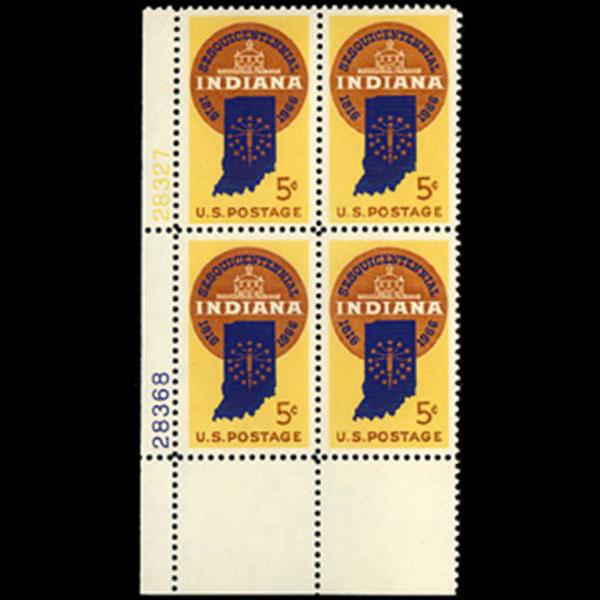 1966 5c Indiana Statehood Plate Block