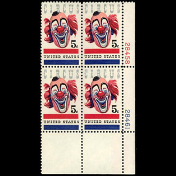 1966 5c American Circus Plate Block