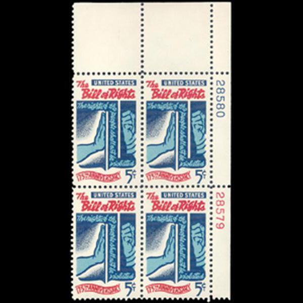 1966 5c Bill of Rights Plate Block