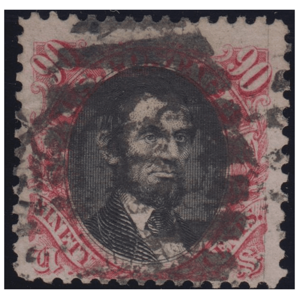 1869 90c Lincoln Reissue Carmine & Black Used