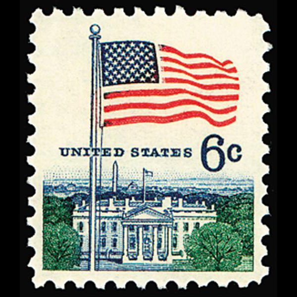 1968 6c Flags & White House Mint Single