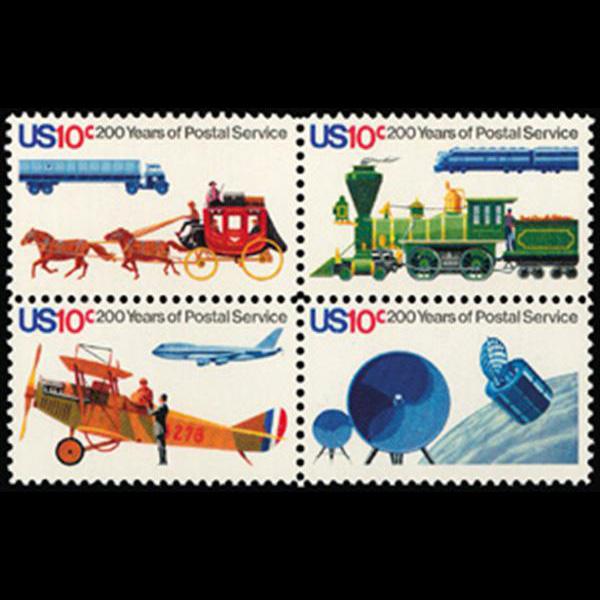 1975 10c Postal Service Bicentennial Mint Block