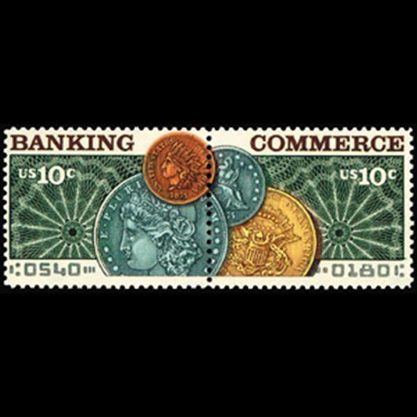1975 10c Banking & Commerce Mint Pair