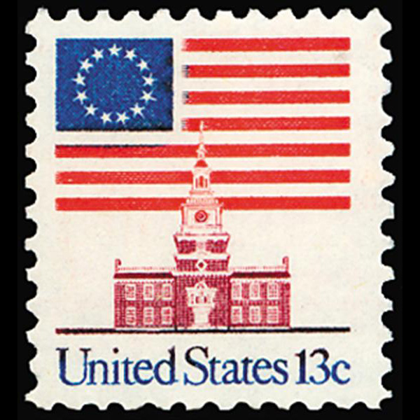 1975 13c Flag & Independence Mint Single