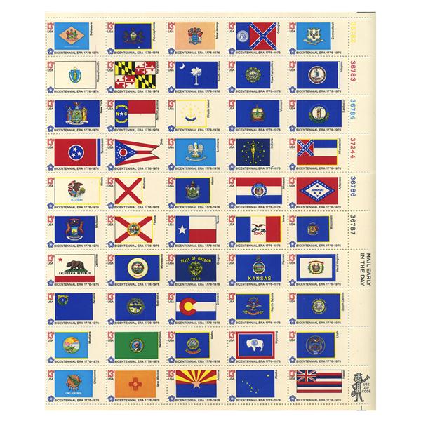 1976 Bicentennial State Flags Mint Sheet