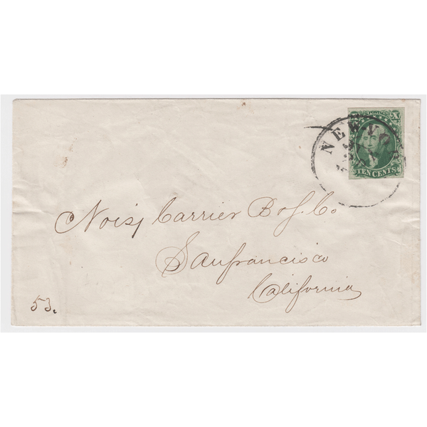 1855 10¢ Washington, Green, Type IV, Used on Cover