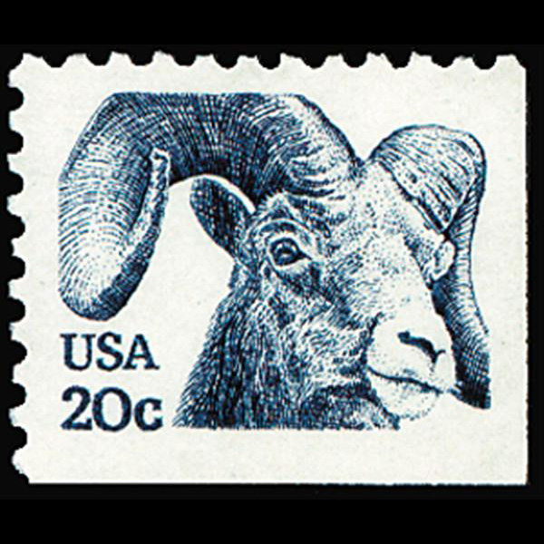 1982 20c Bighorned Sheep Blue from Bklt Pane Single Mint