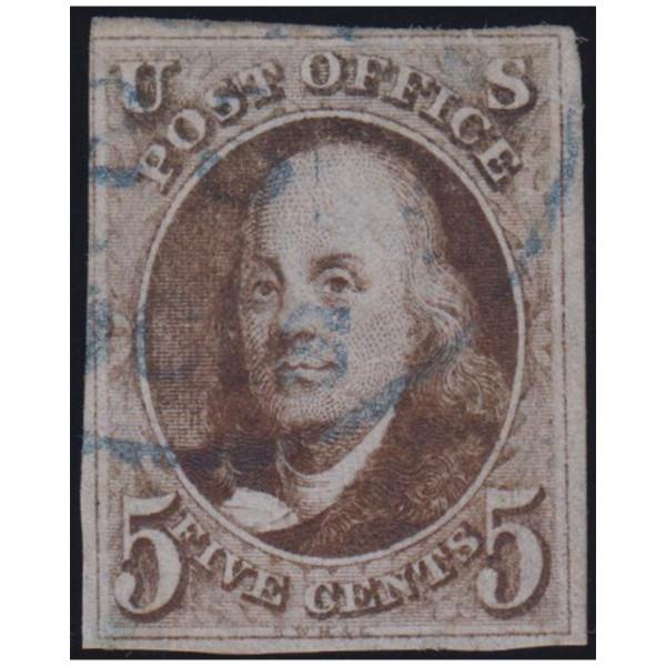 1847 5c Franklin VF Used Blue Cancel