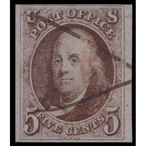 1847 5c Franklin XF Used Manuscript Cancel