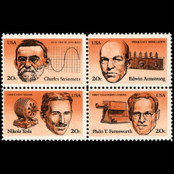 1983 20c Inventors Mint Block