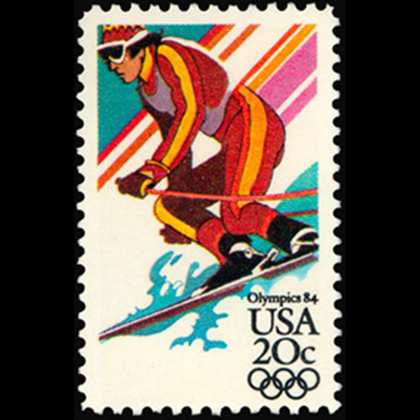 1984 20c Downhill Sking Mint Single