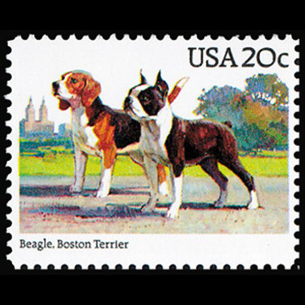 1984 20c Beagle, Boston Terrier Mint Single