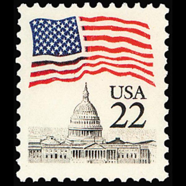 1985 22c Flag over Capitol Mint Single