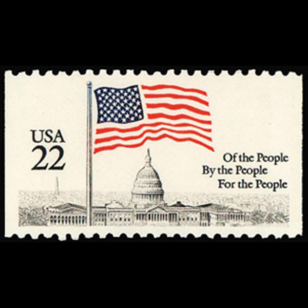 1985 22c Flag over Capitol from Bklt Pane Single Mint