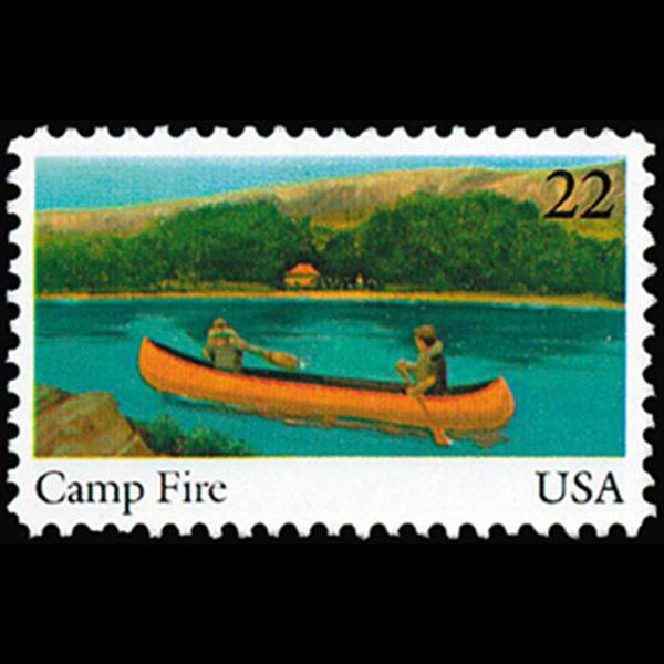 1985 22c Camp Fire Mint Single