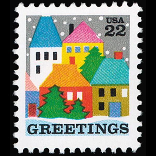 1986 22c Village Scene Mint Single