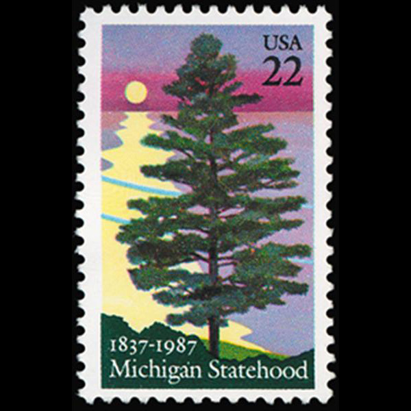 1987 22c Michigan Statehood Mint Single