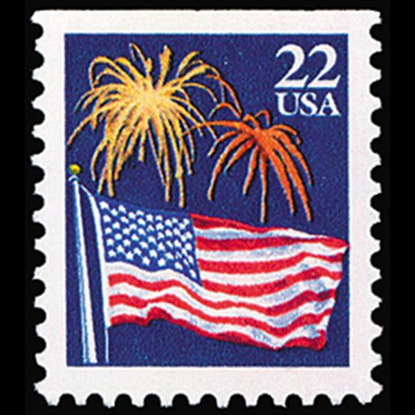 1987 22c Flag & Fireworks Mint Single