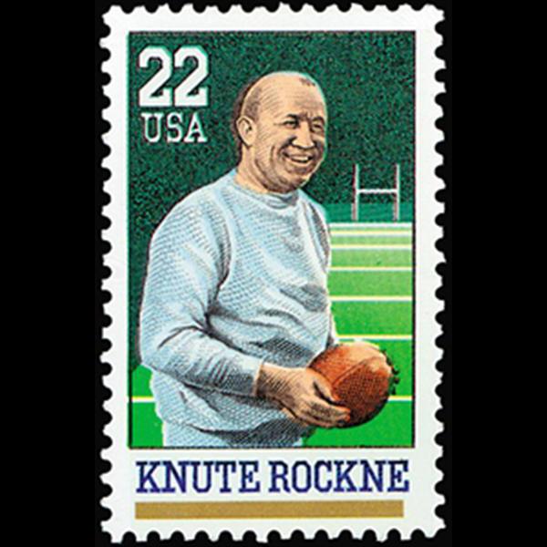 1988 22c Knute Rockne Mint Single