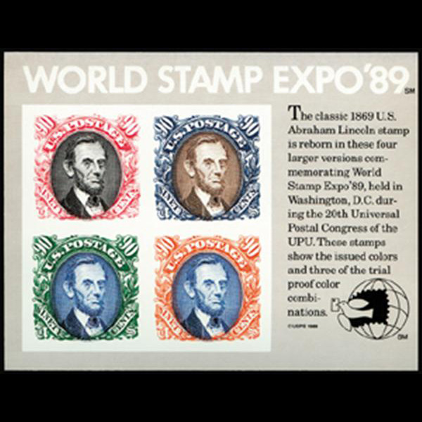 1989 $3.60 World Stamp Expo Imperf Souvenir Sheet Mint