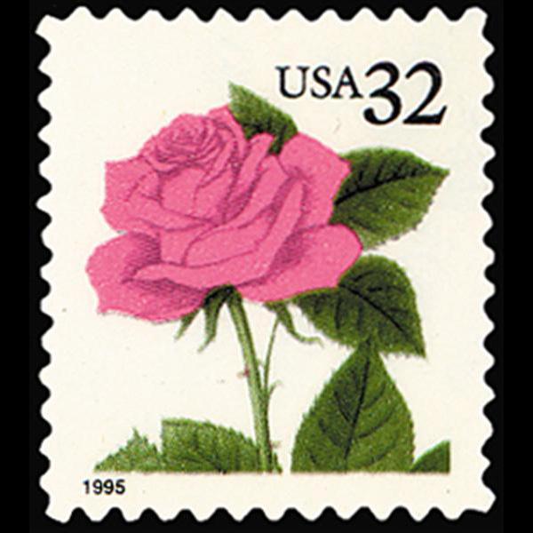 1990 32c Pink Rose Mint Single