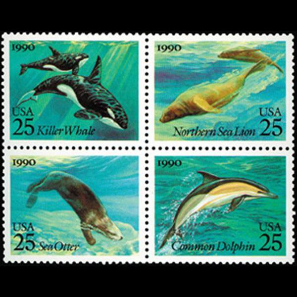 1990 25c Sea Creatures Mint Block