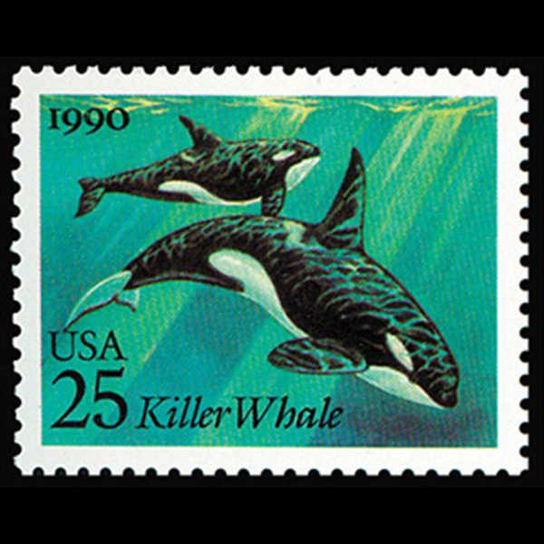 1990 25c Killer Whales Mint Single