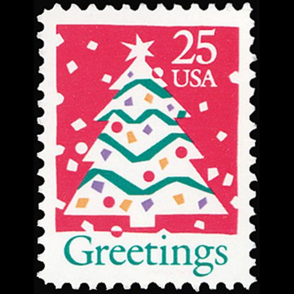 1990 25c Christmas Tree Mint Single