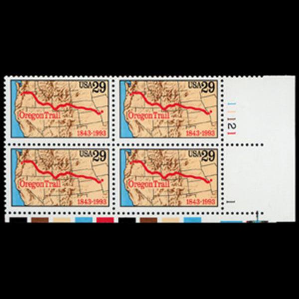 1993 29c Oregon Trail Plate Block