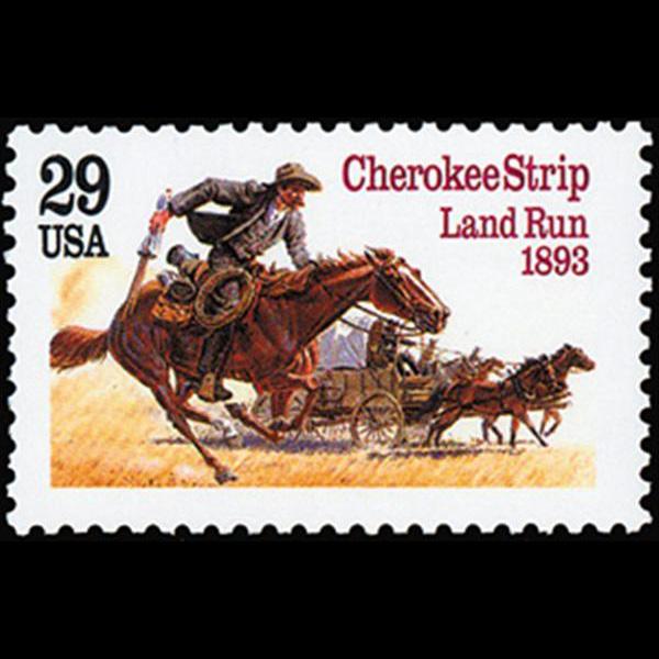 1993 29c Cherokee Strip Mint Single
