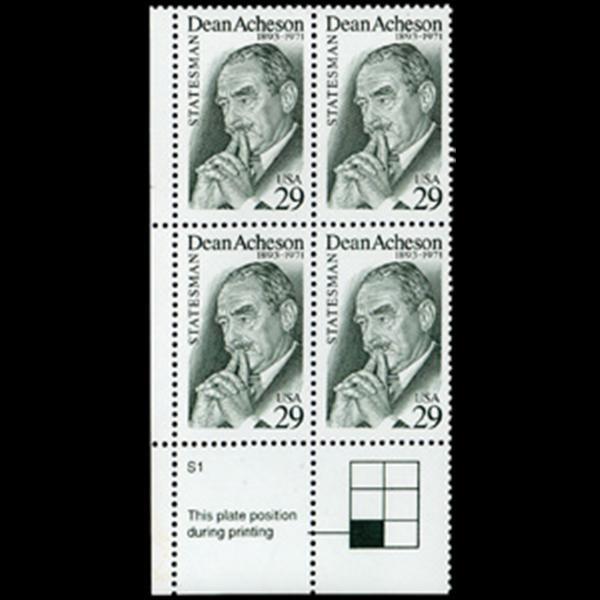 1993 29c Dean Acheson Plate Block